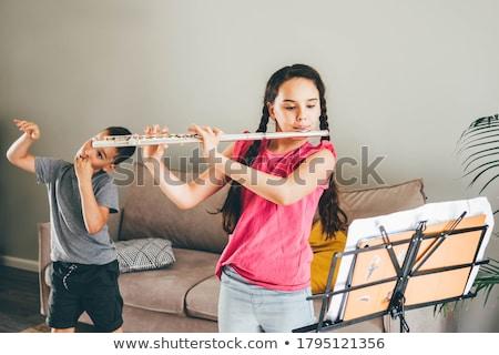 Brother teasing sister in bedroom Stock photo © colematt