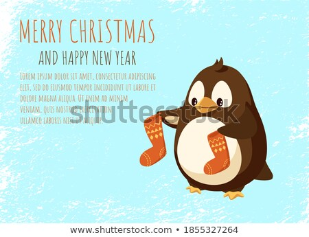 Penguin Cartoon Character with Socks in Wings Stock photo © robuart