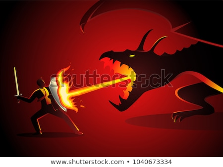 Red dragon and knight with sword Stock photo © colematt