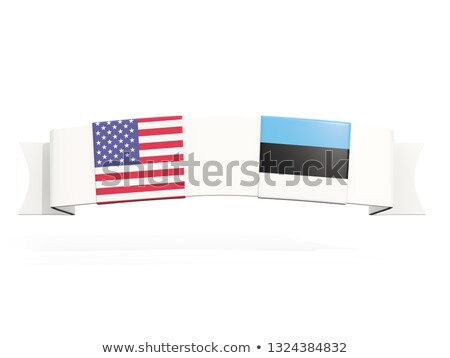 Banner with two square flags of United States and estonia Stock photo © MikhailMishchenko