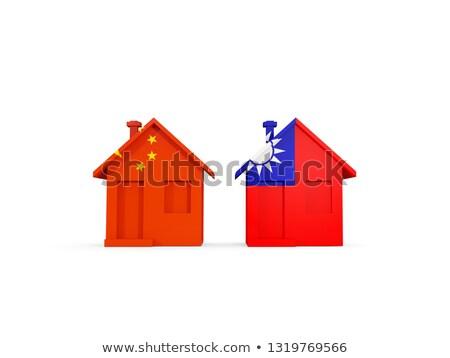 Dois casas bandeiras China Taiwan isolado Foto stock © MikhailMishchenko