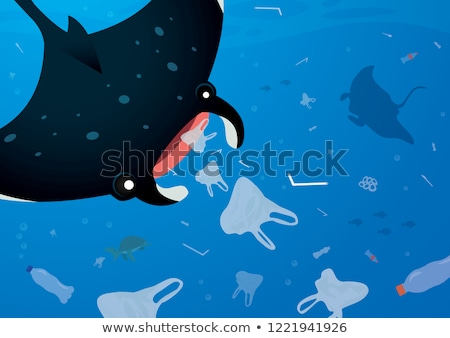 vector set of aquatic animal and plastic stock photo © olllikeballoon