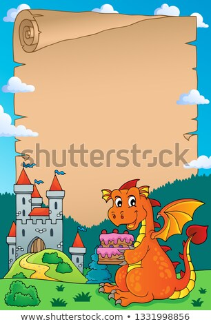 дракон торт пергаменте бумаги здании Сток-фото © clairev
