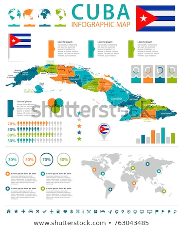 Cuba map located on a world map with flag and map pointer or ...