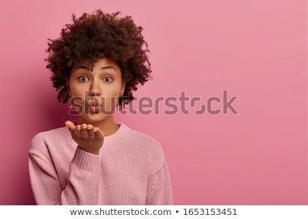 bella · giovani · african · donna · isolato · rosa - foto d'archivio © deandrobot