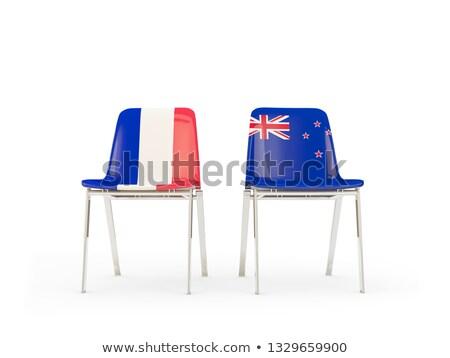 два стульев флагами Франция Новая Зеландия изолированный Сток-фото © MikhailMishchenko