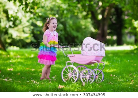 Mother Walk with Toddler Girl Playing Teddy Bear Stock photo © robuart