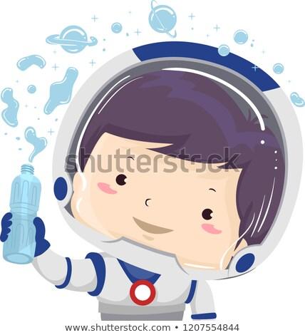 Gyerek fiú űrhajós víz gravitáció illusztráció Stock fotó © lenm