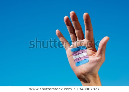 transgender flag in the palm of the hand