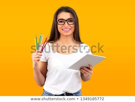 Mutlu grafik tasarımcı kadın renkli boya kalemleri Stok fotoğraf © ichiosea