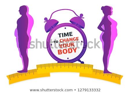 Stockfoto: Dieet · zakenman · lopen · het · verliezen · van · gewicht · plan