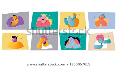 man and woman showing silence gesture vector characters stok fotoğraf © pikepicture