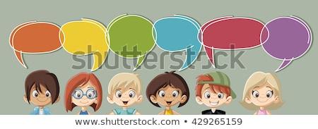 Stock fotó: Fiú · lány · beszél · szöveglufi · illusztráció · terv