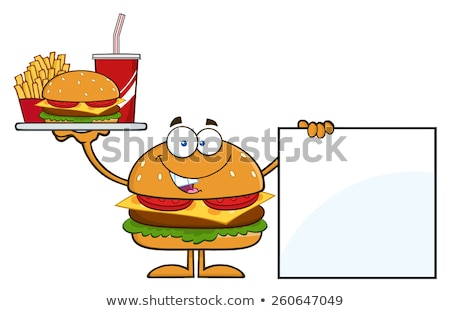 Hamburger Cartoon Character Holding A Platter With Burger, French Fries And Soda By Blank Sign Stock photo © hittoon