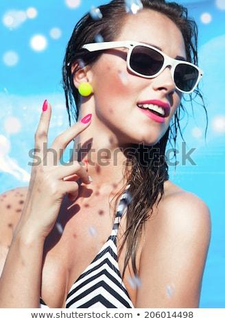 Vrouw brunette make-up zwempak strand water Stockfoto © ElenaBatkova