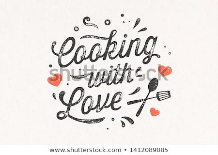 Kochen Liebe Küche Plakat Wand Dekor Stock foto © FoxysGraphic