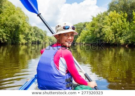 Férias de verão retrato feliz bonitinho menina caiaque Foto stock © Lopolo