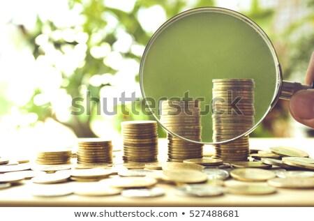üzleti · stratégia · nagyító · régi · papír · sötét · piros · függőleges - stock fotó © rufous