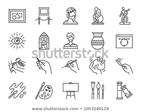 Múzeum ikon szett felirat vászon telefon internet Stock fotó © netkov1