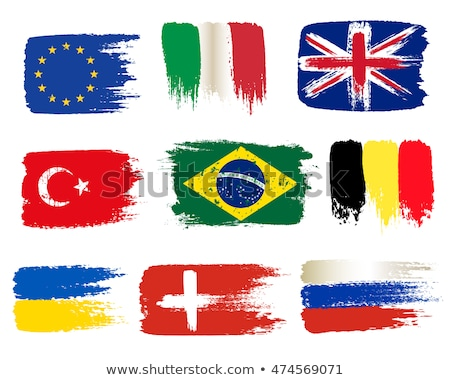 Hand and national flag. Vector illustration of a set of European flags Foto stock © butenkow