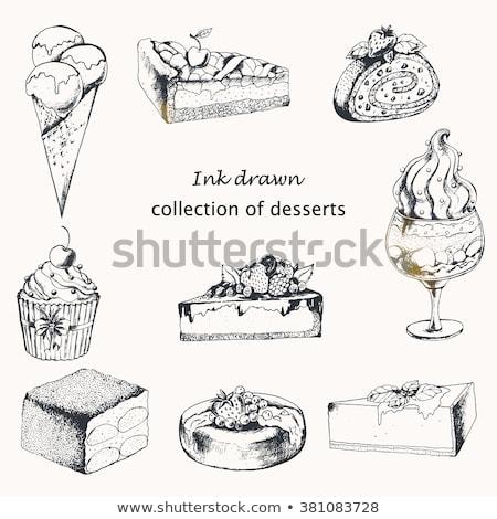 Romig heerlijk cake zoete dessert inkt Stockfoto © pikepicture
