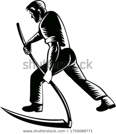 Farmer or Worker Mowing Wheat by Scythe Vector Stock photo © robuart