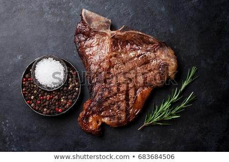 steak · csont · láng · barbecue · sekély · étel - stock fotó © furmanphoto