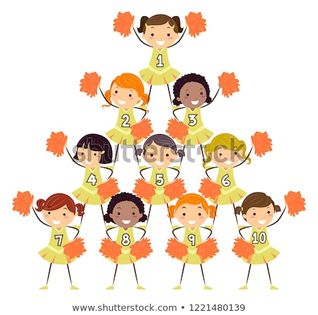 Gyerekek lányok éljenez számok illusztráció jókedv Stock fotó © lenm
