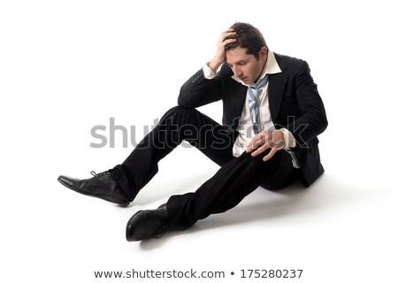 Yorgun işadamı depresyon oturma zemin Stok fotoğraf © ia_64
