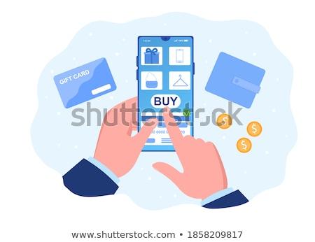 ビジネスマン · クレジットカード · デジタル · タブレット · 小さな - ストックフォト © pressmaster