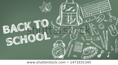 Back to school Vector banner. Sale school supplies promotion advertise poster. Chalk outline drawing Stock photo © frimufilms
