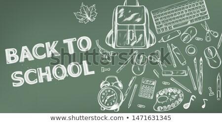 Okula geri vektör afiş satış okul malzemeleri tanıtım Stok fotoğraf © frimufilms
