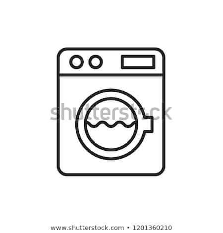 Mosógép ikon egyszerűsített izolált fehér felirat Stock fotó © magraphics