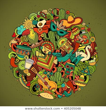 cartoon · bazgroły · ameryka · Łacińska · ilustracja · monochromatyczny · szczegółowy - zdjęcia stock © balabolka