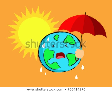global warming poster with earth on fire stock photo © bluering