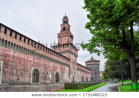 clock on the sforza castle in milano italy stock photo © boggy
