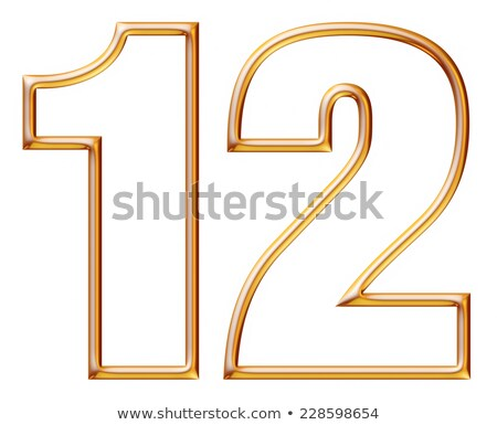 Yellow outlined font Number 2 TWO 3D Stock photo © djmilic