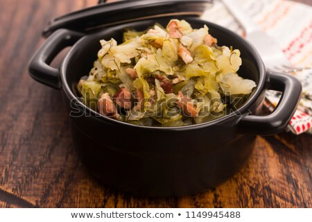 Güveç beyaz lahana domuz pastırması gıda sebze Stok fotoğraf © joannawnuk