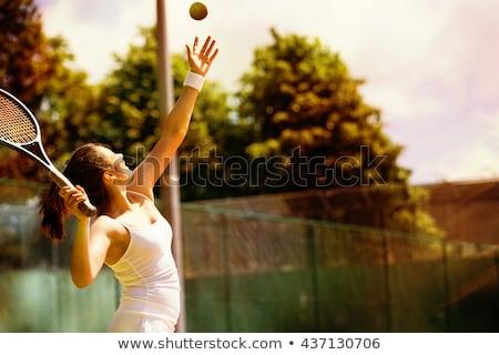 Foto stock: Mulher · jogar · quadra · de · tênis · fitness · tênis · trem