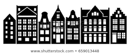 Building Old Fashioned Houses Silhouettes Set Stock photo © robuart