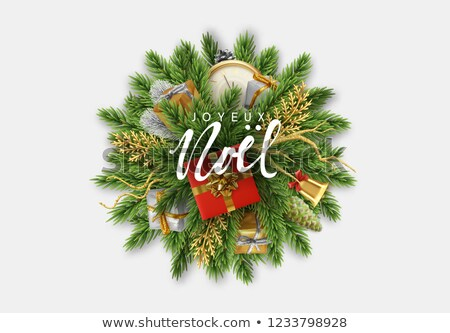 Christmas new year french ornament wreath card Stock photo © cienpies