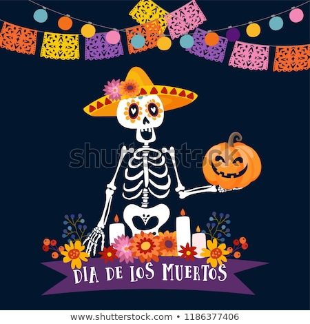 Day of the dead mexican flower skull candle banner Stock photo © cienpies