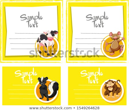Card template wth cute animals Stock photo © bluering