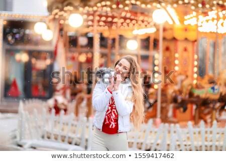 Meisje winter nieuwe jaren avond feestelijk Stockfoto © ElenaBatkova