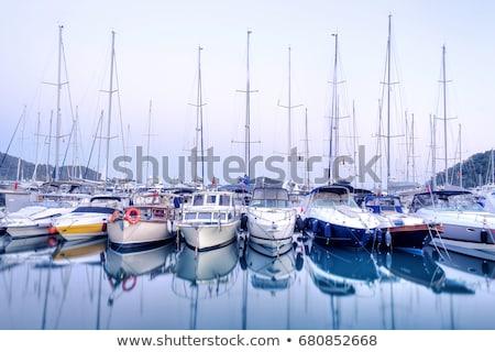 Vitorlások móló jacht klub égbolt víz Stock fotó © galitskaya