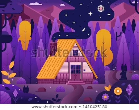 Familie huisje huis bos ontwerp illustratie Stockfoto © shai_halud