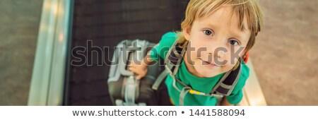 Grappig weinig jongen reis koffer Stockfoto © galitskaya
