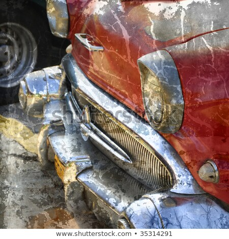 detail of antique automobile, Havana, Cuba Stock photo © phbcz