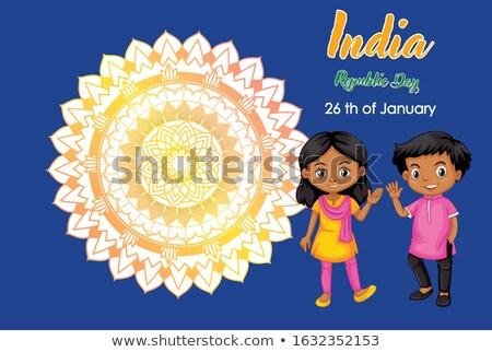 Indië republiek dag poster ontwerp twee Stockfoto © bluering
