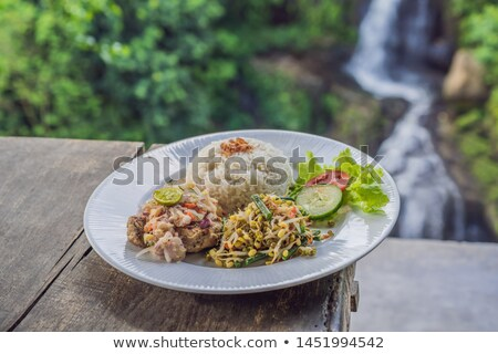 Indonesian food, tuna and rice in a cafe on the background of a waterfall Stock photo © galitskaya